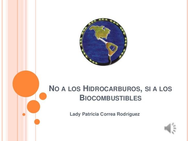 NO A LOS HIDROCARBUROS, SI A LOS        BIOCOMBUSTIBLES     Lady Patricia Correa Rodríguez