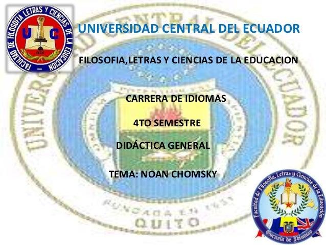 UNIVERSIDAD CENTRAL DEL ECUADORFILOSOFIA,LETRAS Y CIENCIAS DE LA EDUCACION         CARRERA DE IDIOMAS          4TO SEMESTR...