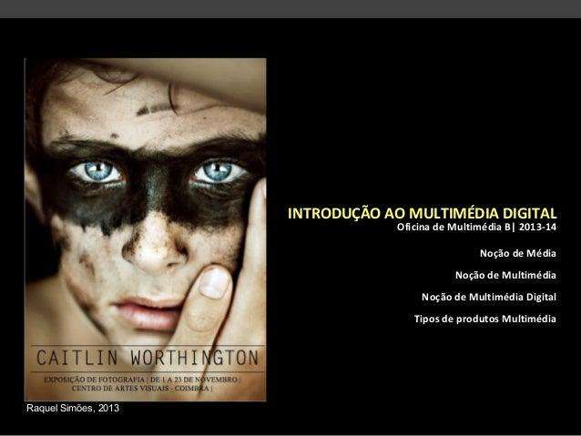 INTRODUÇÃO AO MULTIMÉDIA DIGITAL Oficina de Multimédia B| 2013-14 Noção de Média Noção de Multimédia Noção de Multimédia D...