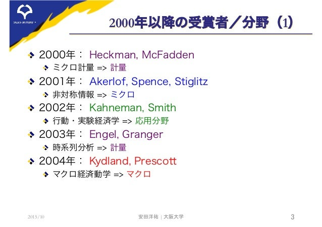 2000年以降の受賞者/分野(1)  2000年: Heckman, McFadden  ミクロ計量 => 計量  2001年: Akerlof, Spence, Stiglitz  非対称情報 => ミクロ  2002年: Kahn...
