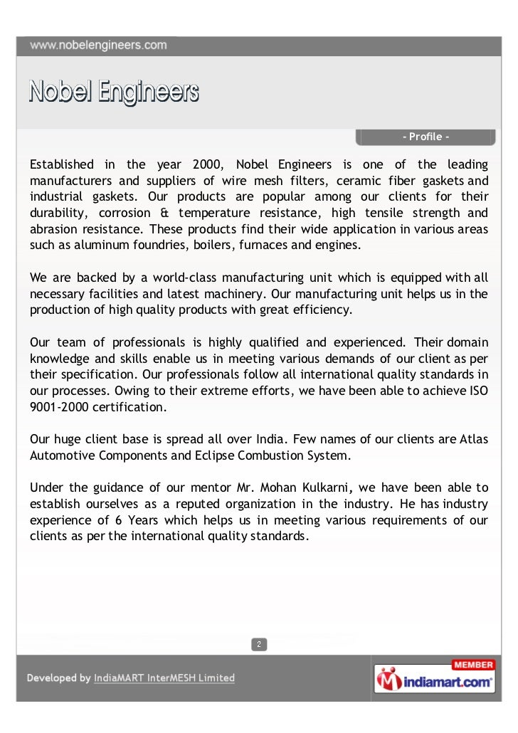 - Profile -Established in the year 2000, Nobel Engineers is one of the leadingmanufacturers and suppliers of wire mesh fil...