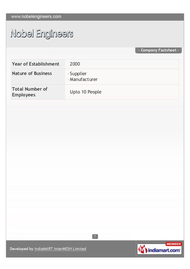 - Company Factsheet -Year of Establishment   2000Nature of Business      Supplier                        ManufacturerTotal...