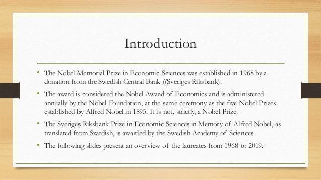 Nobel Memorial Prize in Economic Sciences Slide 2
