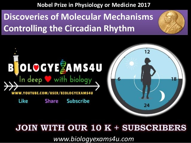 Discoveries of Molecular Mechanisms Controlling the Circadian Rhythm Nobel Prize in Physiology or Medicine 2017 www.biolog...