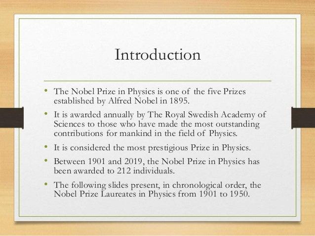 NOBEL PRIZE IN PHYSICS 1901 1950 Slide 2