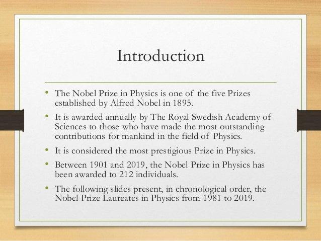 NOBEL PRIZE IN PHYSICS 1981 2019 Slide 2