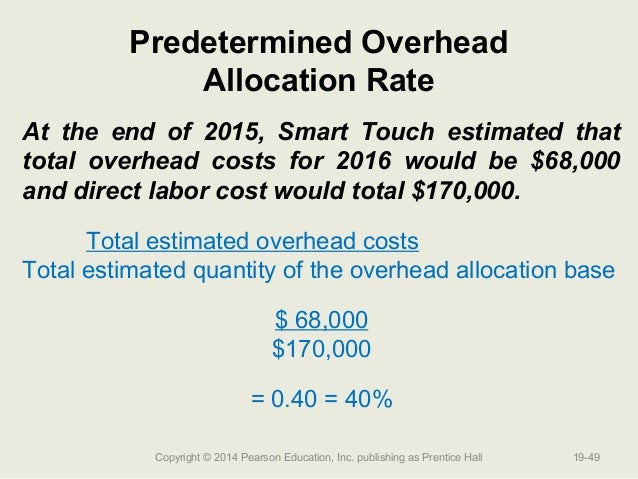 the disadvantage of using predetermined manufacturing overhead rate The company applies overhead to jobs using a predetermined overhead rate based on machine-hours at the beginning of the year, the company estimated that it would work 24,000 machine-hours and incur $216,000 in manufacturing overhead.