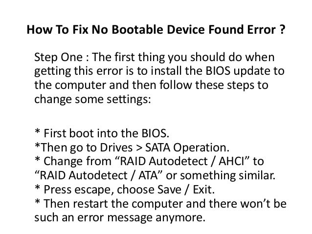 No Bootable Device Found Error Fix