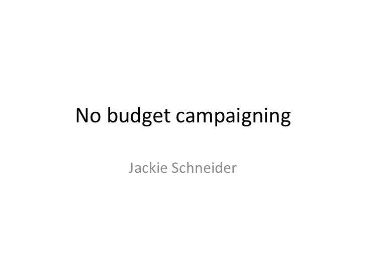 No budget campaigning<br />Jackie Schneider<br />