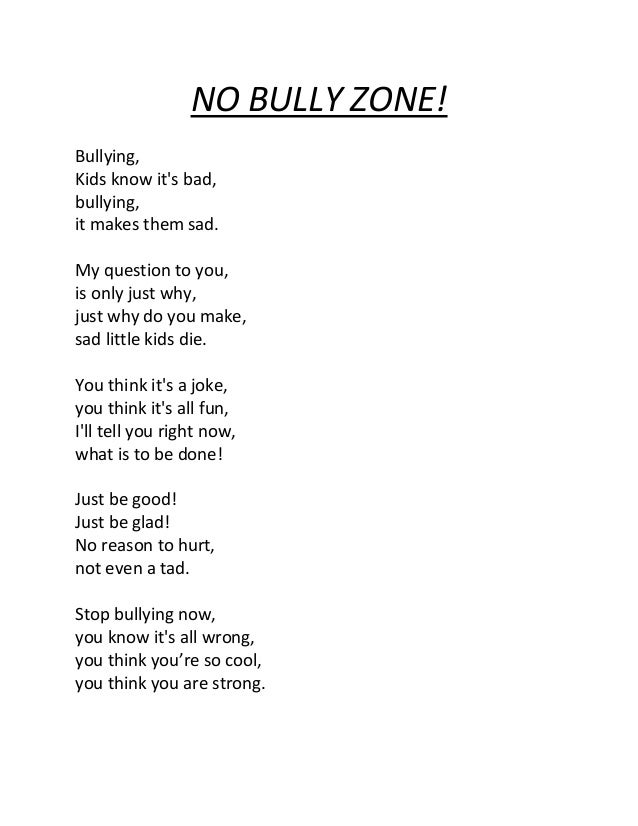 No Bully Zone 33349810 on Sad Poems To Make You Cry
