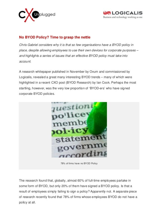 No BYOD Policy? Time to grasp the nettleChris Gabriel considers why it is that so few organisations have a BYOD policy inp...