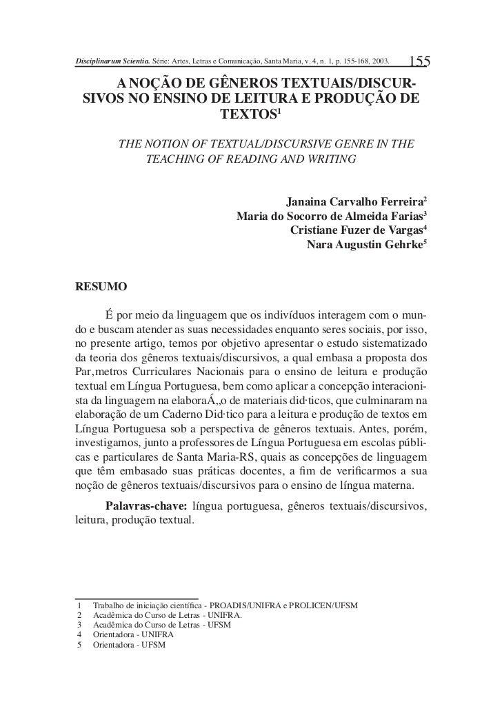Disciplinarum Scientia. Série: Artes, Letras e Comunicação, Santa Maria, v. 4, n. 1, p. 155-168, 2003.   155        A NOÇÃ...
