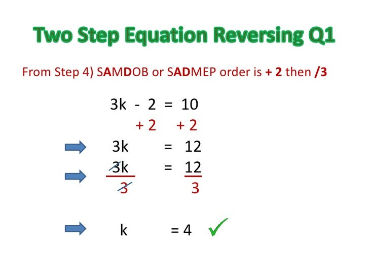 Solving Two Step Equations Using Opposites