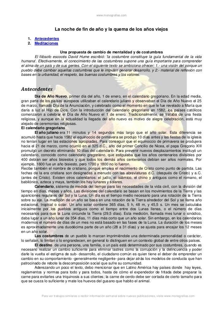 www.monografias.com                     La noche de fin de año y la quema de los años viejos    1. Antecedentes    2. Medi...