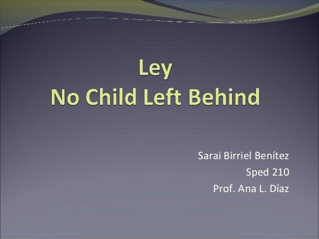 Sarai Birriel Benítez           Sped 210   Prof. Ana L. Díaz