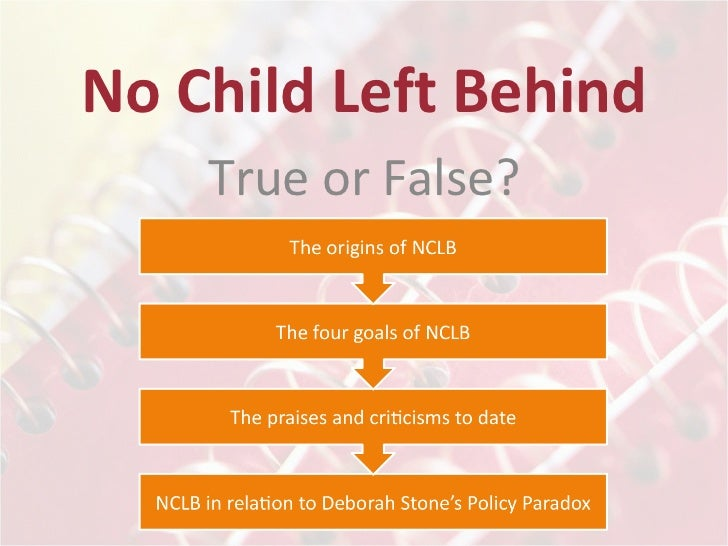 no child left behind policy essay Top  papers & essays  school & teachers  teacher quality:  although the  no child left behind act actually set requirements for the.
