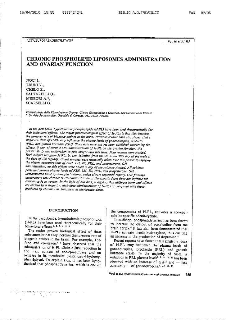 Applicazione cronica di liposomi di fosfolipidi e funzione ovarica