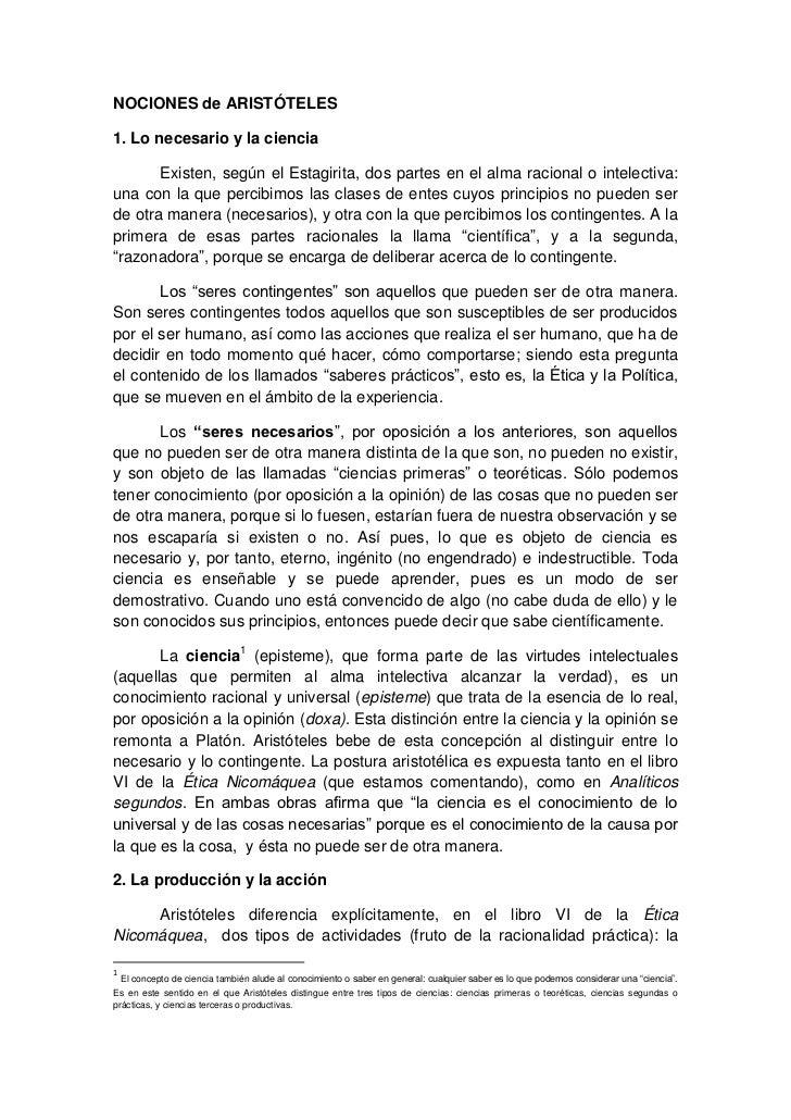 NOCIONES de ARISTÓTELES1. Lo necesario y la ciencia       Existen, según el Estagirita, dos partes en el alma racional o i...