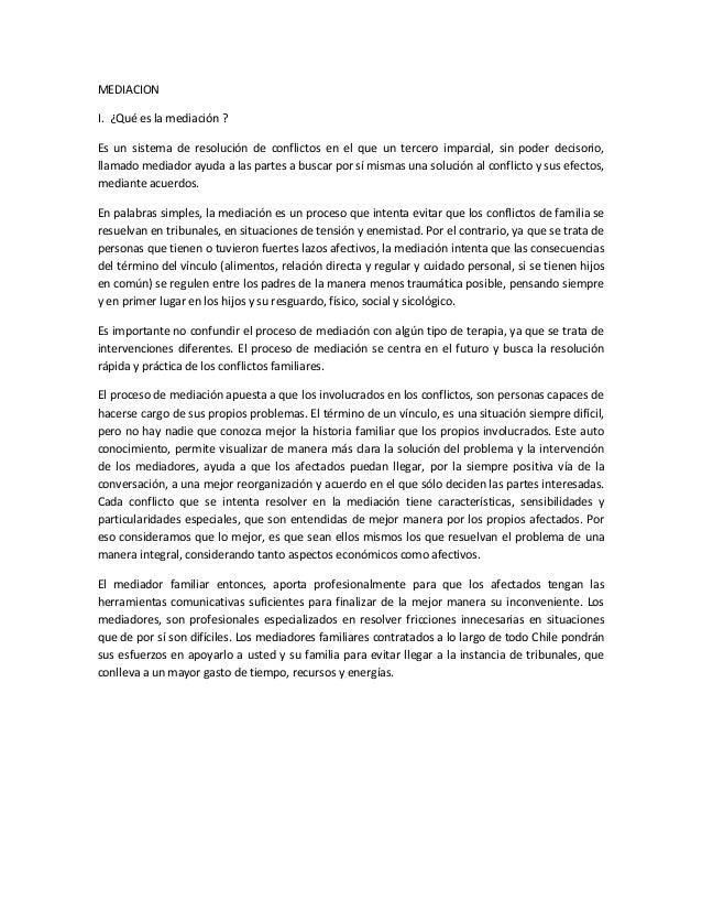 Nociones sobre mediaci n familiar en chile for Acta familiar