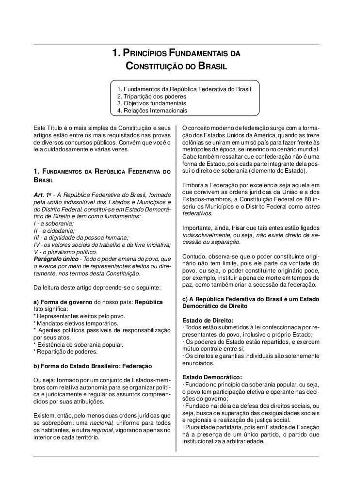 1. PRINCÍPIOS FUNDAMENTAIS DA                                    CONSTITUIÇÃO DO BRASIL                                   ...