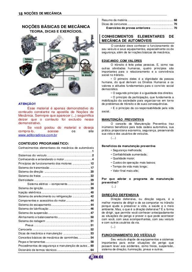 18 NOÇÕES DE MECÂNICA                                                                                             Resumo d...
