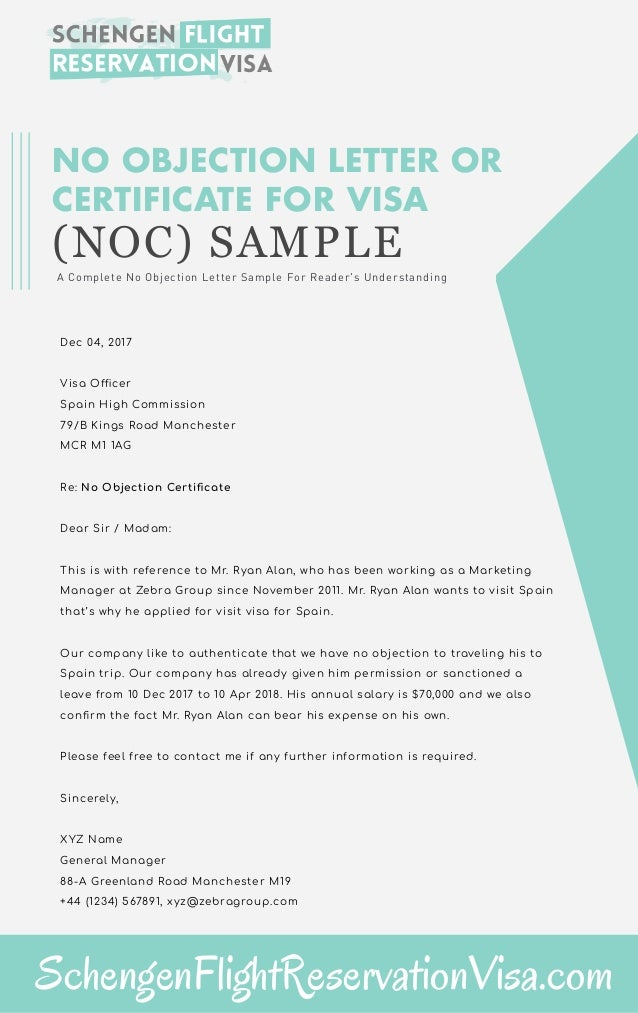 Lovely NO OBJECTION LETTER OR CERTIFICATE FOR VISA (NOC) SAMPLE A Complete No  Objection Letter