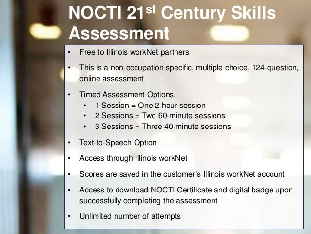 NOCTI 21st Century Skills Assessment Overview