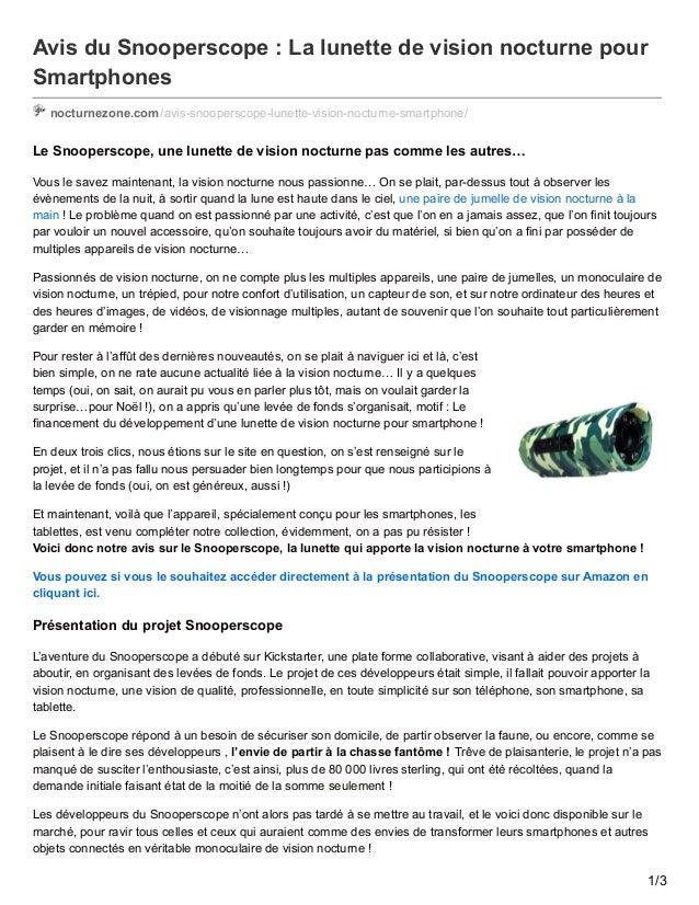 Avis du Snooperscope : La lunette de vision nocturne pour Smartphones nocturnezone.com/avis-snooperscope-lunette-vision-no...