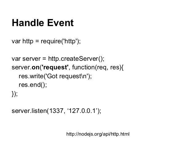 Handle Event var http = require('http'); var server = http.createServer(); server.on('request', function(req, res){ res.wr...