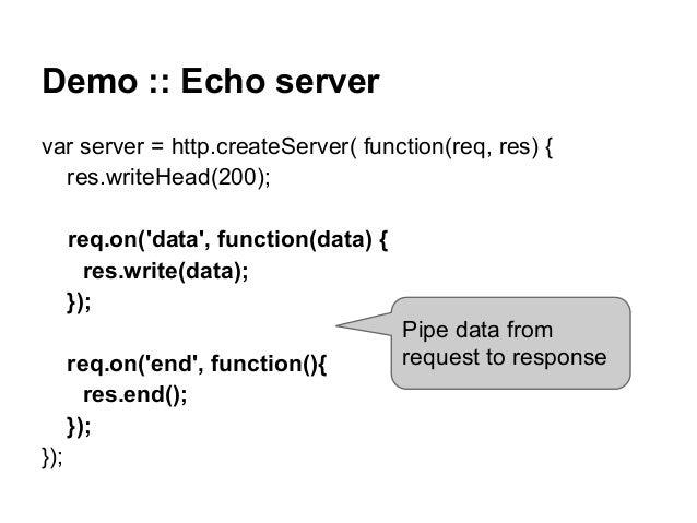 Demo :: Echo server var server = http.createServer( function(req, res) { res.writeHead(200); req.on('data', function(data)...