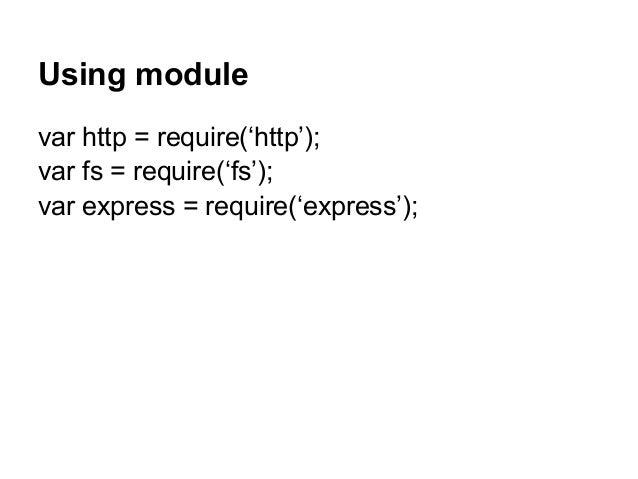 Using module var http = require('http'); var fs = require('fs'); var express = require('express');