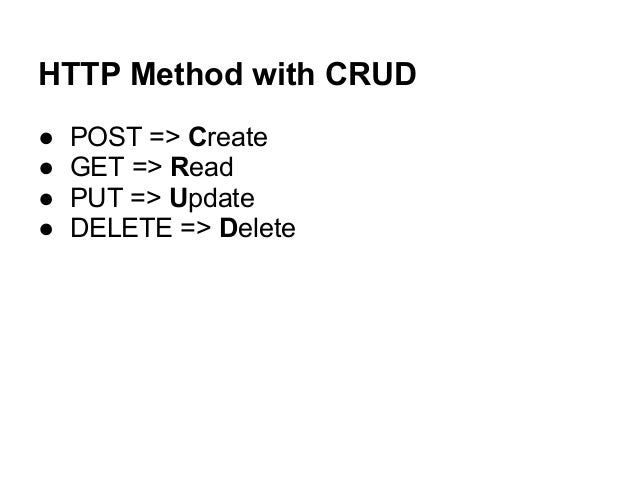 HTTP Method with CRUD ● POST => Create ● GET => Read ● PUT => Update ● DELETE => Delete