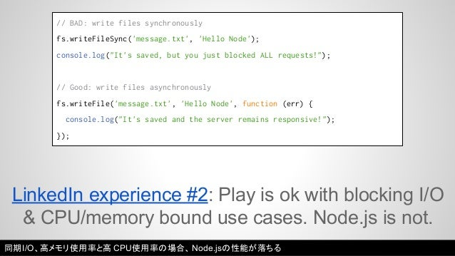 """// BAD: write files synchronously  fs.writeFileSync('message.txt', 'Hello Node');  console.log(""""It's saved, but you just b..."""