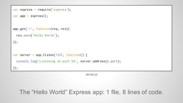var express = require('express');  var app = express();  app.get('/', function(req, res){  res.send('Hello World');  });  ...