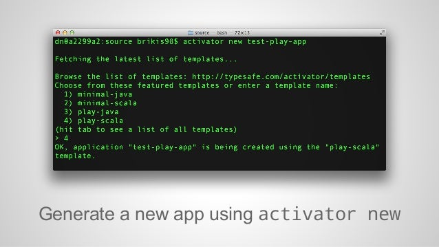 Generate a new app using activator new