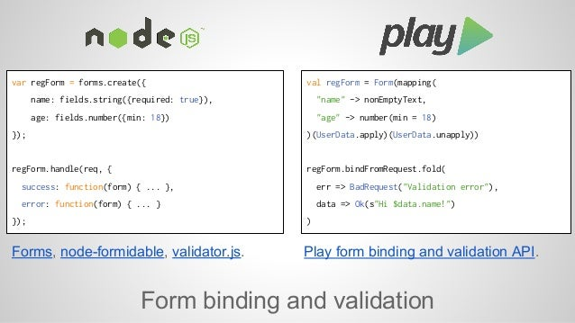 var regForm = forms.create({  name: fields.string({required: true}),  age: fields.number({min: 18})  Forms, node-formidabl...