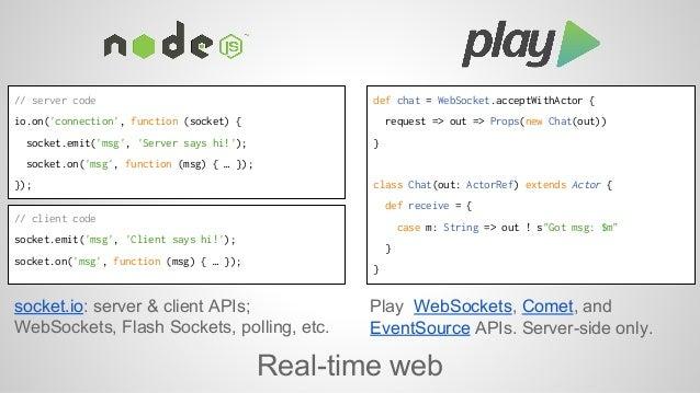 socket.io: server & client APIs;  WebSockets, Flash Sockets, polling, etc.  Play WebSockets, Comet, and  EventSource APIs....