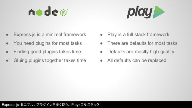 ● Express.js is a minimal framework ● Play is a full stack framework  ● You need plugins for most tasks  ● Finding good pl...