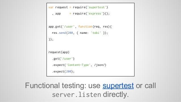 var request = require('supertest')  , app = require('express')();  app.get('/user', function(req, res){  res.send(200, { n...
