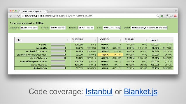 Code coverage: Istanbul or Blanket.js