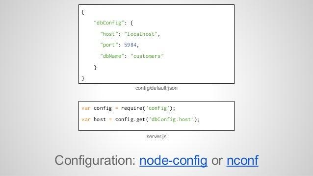 """{  """"dbConfig"""": {  """"host"""": """"localhost"""",  """"port"""": 5984,  """"dbName"""": """"customers""""  }  }  config/default.json  var config = requ..."""