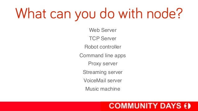 Modules (npm)• NPM is the Nuget for noders• No version clash• package.json to manage app  dependencies