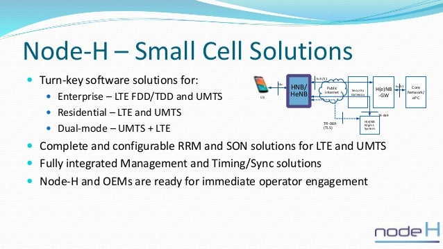 Node-H – Small Cell Solutions  Turn-key software solutions for:  Enterprise – LTE FDD/TDD and UMTS  Residential – LTE a...