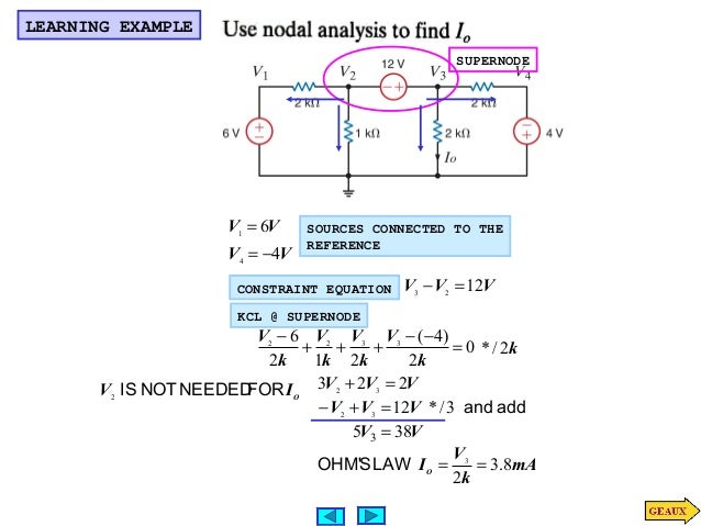Nodal analysis for KCL and KVL