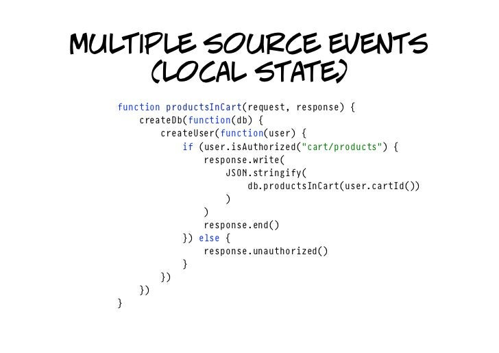 multiple source events      (local state)   functionproductsInCart(request,response){   createDb(function(db){   ...