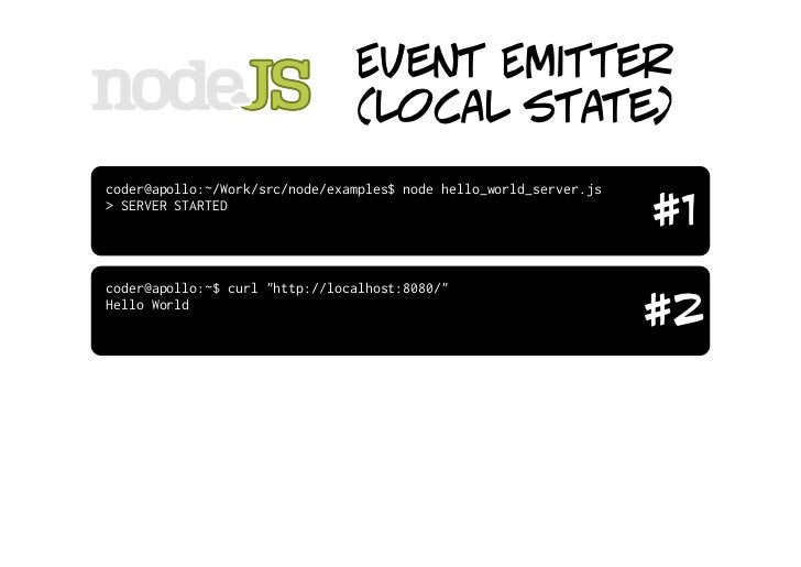 """Event Emitter                          (local state) varserver=require(""""http"""").createServer()  server.on(""""request"""",fun..."""