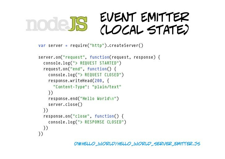 """Event Emitter                          (local state)  ...  server.on(""""close"""",function(){ console.log("""">SERVERCLOSED""""..."""