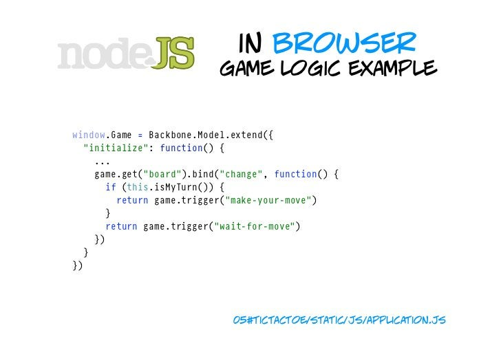 """in browser                               game logic example game.bind(""""play-with-board"""",function(cells){ build..."""
