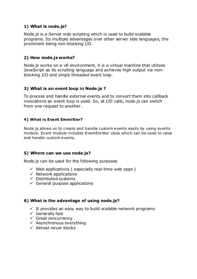 NodeJS Interview Question And Answers. 1) What Is Node.js? Node.js Is A  Server Side Scripting ...