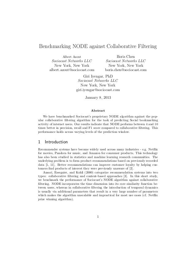 Benchmarking NODE against Collaborative Filtering                 Albert Azout                           Boris Chen       ...